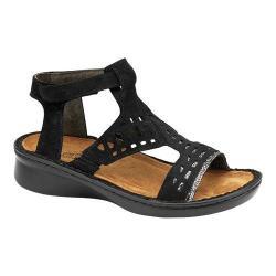 Women's Naot String Ankle Strap Sandal Black Velvet Nubuck/Silver Pebble Leather