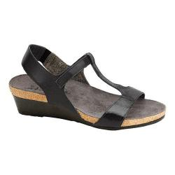 Women's Naot Unicorn T-Strap Wedge Sandal Black Raven Leather/Black Luster Leather