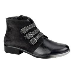 Women's Naot Vardar Rhinestone Strap Bootie Black Madras Leather/Black Velvet Nubuck