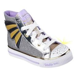 Girls' Skechers Twinkle Toes Shuffles Flutter Fortune High Top Charcoal/Gold