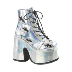 Women's Demonia Camel 201 Platform Ankle Bootie Silver Hologram/Black Vegan Leather