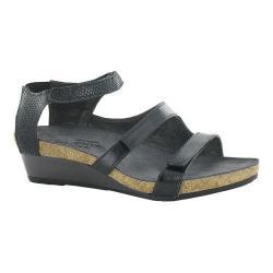 Women's Naot Goddess Ankle Strap Sandal Black Luster/Black Raven/Black Snake Leather