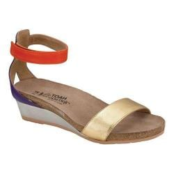 Women's Naot Pixie Ankle Strap Sandal Gold Leather/Purple Leather/Orange Leather