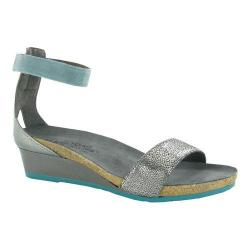 Women's Naot Pixie Ankle Strap Sandal Silver Pebble/Sterling/Sea Green Leather