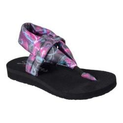 Women's Skechers Meditation Time Warp Thong Sandal Black/Multi