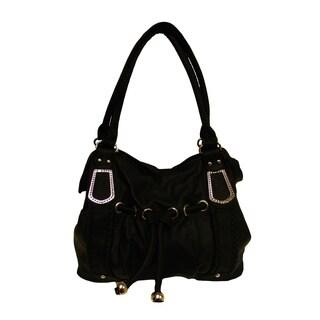 Donna Bella Cari Black Faux Leather Tote Handbag
