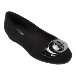 Women's Cliffs by White Mountain Marlia Ornamented Slip On Black Suedette/Patent PU