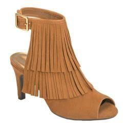 Women's Aerosoles Alamode Fringe Sandal Dark Tan Suede