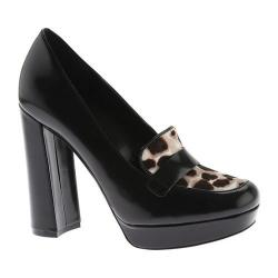 Women's Nine West Dakimo Platform Heeled Loafer Black/Grey Multi Leather