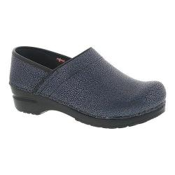 Women's Sanita Clogs Professional Pebble Closed Back Clog Petrol Embossed Patent