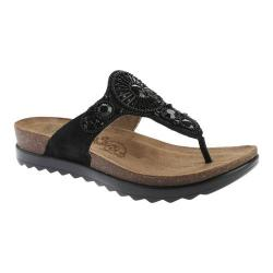 Women's Dansko Pamela Thong Sandal Black Jewelled Suede