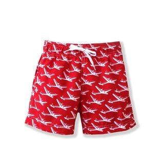 Pan Am Boys' Red Polyester Swim Shorts
