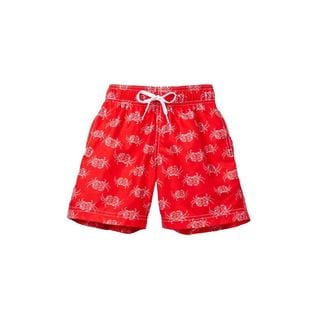 Crab Walk Boys' Red Polyester Swim Shorts
