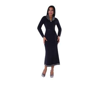 Kayla Women's Blue Knit Multi Layer Rhinestone Dress
