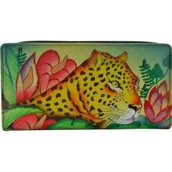 Women's ANNA by Anuschka Hand Painted Leather Two Fold Wallet 1836 Jungle Leopard