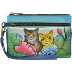 Women's ANNA by Anuschka Hand Painted Wristlet Organizer Wallet 1838 Two Cats