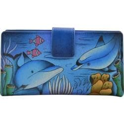 Women's ANNA by Anuschka Leather Two Fold Organizer Wallet 1833 Playful Dolphin