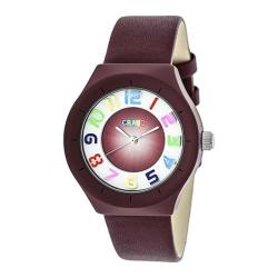 Men's Crayo Atomic Quartz Watch Maroon Leather/Maroon