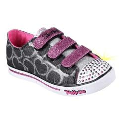 Girls' Skechers Twinkle Toes Shuffles Glitter Heart Sneaker Black/Hot Pink