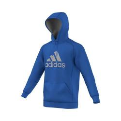 Men's adidas Essentials Cotton Fleece Pullover Hoodie Blue/MGH Solid Grey