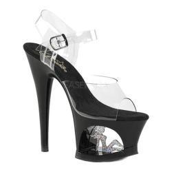 Women's Pleaser Moon 708TG Cut-Out Platform Ankle-Strap Sandal Clear PVC/Black-Silver