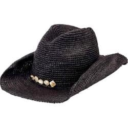 Men's San Diego Hat Company Crochet Raffia Cowboy Hat with Beaded Trim RHC1080 Black