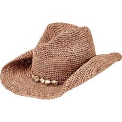 Men's San Diego Hat Company Crochet Raffia Cowboy Hat with Beaded Trim RHC1080 Nougat