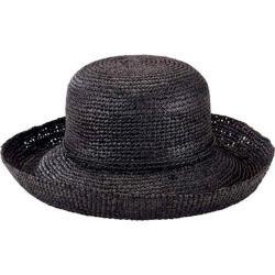 Women's San Diego Hat Company Crochet Raffia Kettle Brim Hat RHM6004 Black