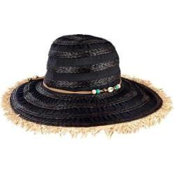 Women's San Diego Hat Company Ribbon/Raffia Sun Brim Hat w/ Frayed Edge RBL4789 Black