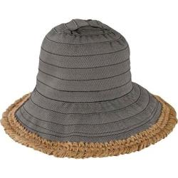 Women's San Diego Hat Company Sun Brim Bucket Hat with Crochet Hemp RBM5563 Black
