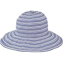 Women's San Diego Hat Company Wide Striped Ribbon Wired Sun Brim Hat RBL4794 Blue