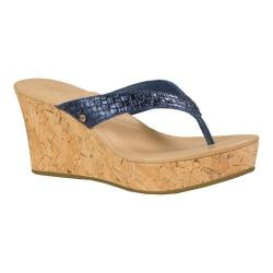 Women's UGG Natassia Metallic Basket Wedge Sandal Racing Stripe Blue