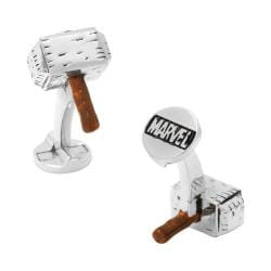 Men's Cufflinks Inc 3D Thor Hammer Cufflinks Silver