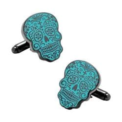 Men's Cufflinks Inc Glow-in-the-Dark Day of the Dead Cufflinks Blue