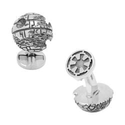 Men's Cufflinks Inc Sterling Silver 3D Death Star Cufflinks Silver 22390994
