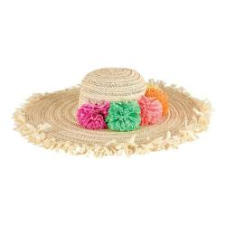 Women's San Diego Hat Company Paperbraid Multi Color Pom Floppy Hat PBL3074 Natural