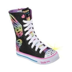Girls' Skechers Twinkle Toes Shuffles Flutter Fun Extra-High Top Black/Multi