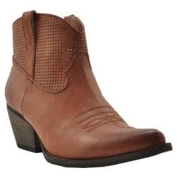 Women's Volatile Mishka Western Bootie Brown Faux Leather