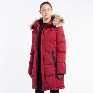 Women's Red Faux Fur-Insulated, Hooded Coat