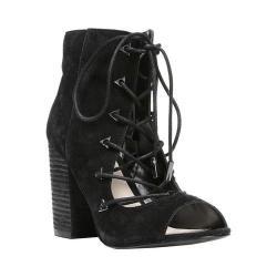 Women's Fergie Footwear Riviera Open-Toe Lace-Up Bootie Black Suede