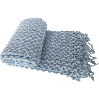 Textured Zigzag Crochet Fringed Throw