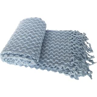 Textured Zigzag Crochet Fringed Throw