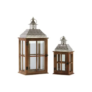 Brown Wood Natural Wood Finish Square Lantern with Pierced Metal Top, Glass and Cross Line Design Side, and Ring Handle