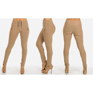 Juniors' Khaki Polyester/Spandex Stretchy High-waist Skinny Pants