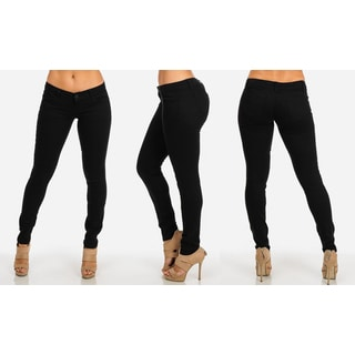 Juniors' Classic Black Cotton-blended Low-rise Butt-lifting Twill Skinny Pants
