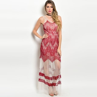 Shop the Trends Women's Coral and Burgundy Polyester Contrast Eyelash Lace Sleeveless Gown
