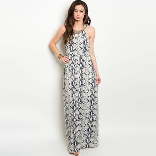 Shop the Trends Women's Polyester Sleeveless Maxi Dress With All-over Snake Print