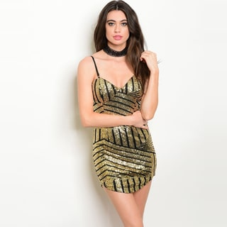 Shop The Trends Women's Gold and Black Spaghetti Strap Bodycon V-neck Sequined Dress