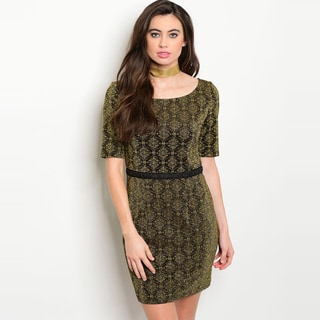 Shop The Trends Women's Gold Short-sleeve Metallic Bodycon Scoop-neck Dress
