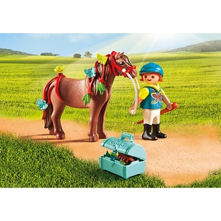 PlayMobil Multicolor Plastic Groomer With Butterfly Pony